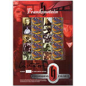 Hammer Frankenstein Horror Films GB Customised Stamp Sheet - Signed I. Pitt