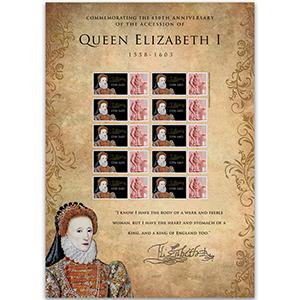 Queen Elizabeth I GB Customised Stamp Sheet