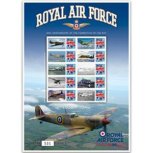 R.A.F 90th Anniversary 1939 -1945 GB Customised Stamp Sheet 2