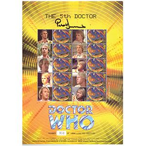 Doctor Who GB Customised Stamp Sheet - The 5th Doctor - Signed by Peter Davison