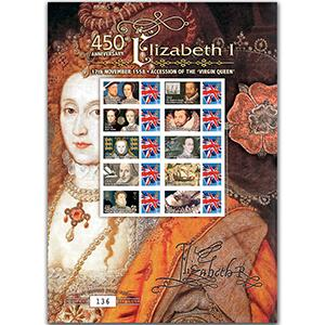 450th Anniversary Accession of Elizabeth I GB Customised Stamp Sheet