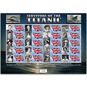 Titanic Survivors GB Customised Stamp Sheet