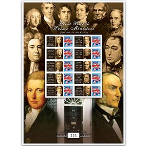 18th & 19th Century Prime Ministers GB Customised Stamp Sheet
