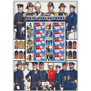 Royal Navy Uniforms GB Customised Stamp Sheet