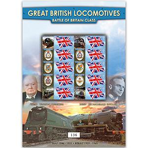 Battle of Britain Locomotives GB Customised Stamp Sheet