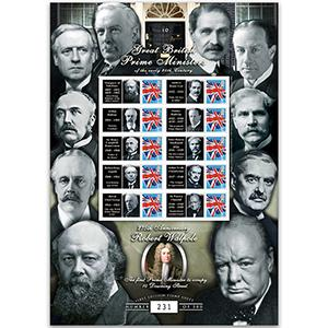 20th Century British Prime Ministers GB Customised Stamp Sheet