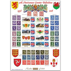50th Anniversary Country Definitives GB Customised Stamp Sheet - HoB 22