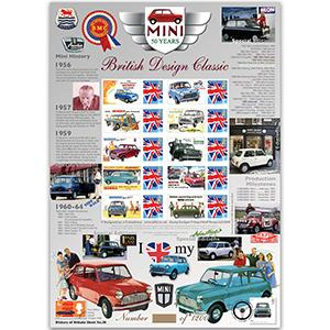 50 Years of the Mini GB Customised Stamp Sheet - HoB 28