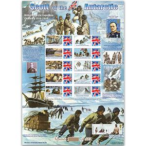 Scott of the Antarctic GB Customised Stamp Sheet - HoB 56