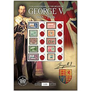 George V - 75th Anniversary of his Death GB Customised Stamp Sheet