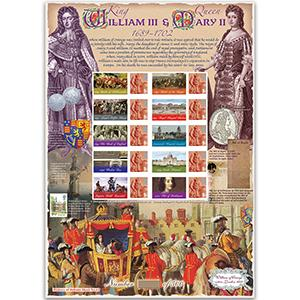 King William III and Mary II GB Customised Stamp Sheet - HoB 63
