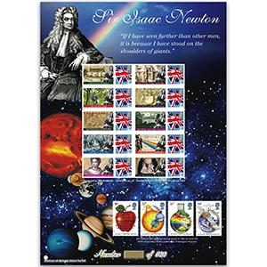 Sir Isaac Newton GB Customised Stamp Sheet - HoB 50