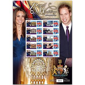 Royal Wedding GB Customised Stamp Sheet
