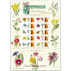 Victorian Garden Flowers GB Customised Stamp Sheet - HoB 36