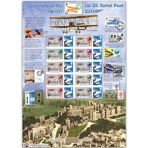 Centenary of Aerial Post GB Customised Stamp Sheet - HoB 74
