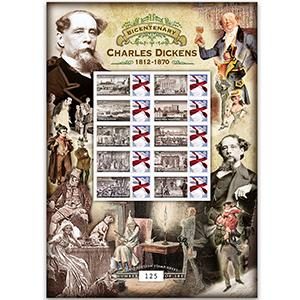 Charles Dickens GB Customised Stamp Sheet