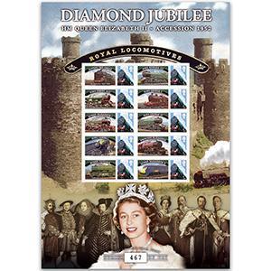 Diamond Jubilee Royal Locomotives GB Customised Stamp Sheet