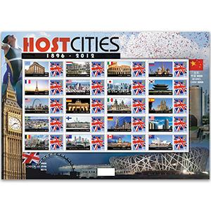 Olympics 2012 Host Cities GB Customised Stamp Sheet