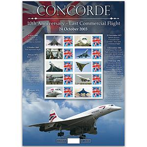 Concorde 10th Anniversary GB Customised Stamp Sheet