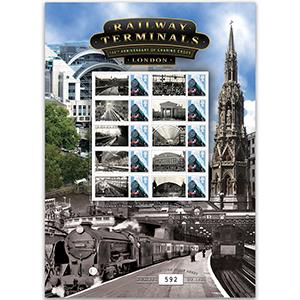 Railway Terminals - 150th Anniversary London Charing Cross GB Customised Stamp Sheet