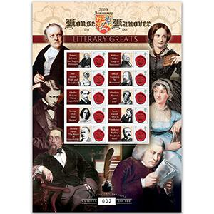 House of Hanover - Literary Greats GB Customised Stamp Sheet