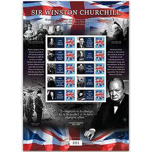 Sir Winston Churchill GB Customised Stamp Sheet