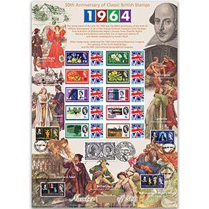 Classic British Stamps 1964 GB Customised Stamp Sheet - HoB 102