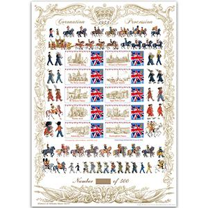 Coronation Procession GB Customised Stamp Sheet - HoB 92