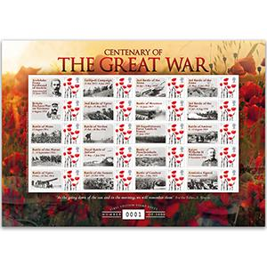 Centenary The Great War 20 x 1st GB Customised Stamp Sheet