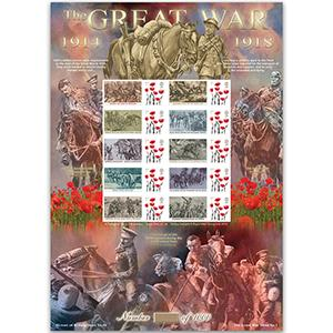 WWI Warhorses GB Customised Stamp Sheet HoB 90