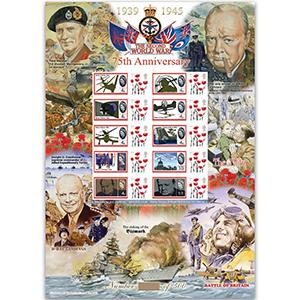 WWII 75th Anniversary GB Customised Stamp Sheet - HoB 105