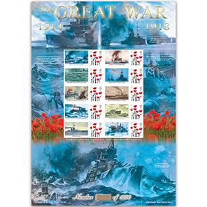 WWI - War at Sea GB Customised Stamp Sheet - HoB 95