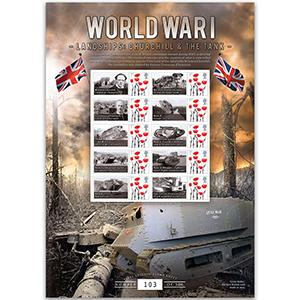 WWI Landships - Churchill & The Tank GB Customised Stamp Sheet