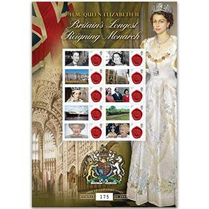Britains Longest Reigning Monarch GB Customised Stamp Sheet