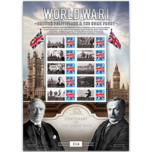 2017 WW1 Customised Stamp Sheet - 'British Politicians and the Home Front'