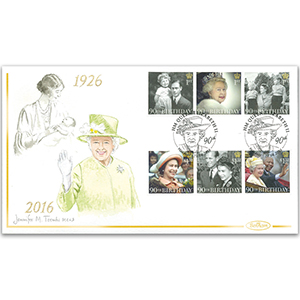 2016 Queen's 90th Birthday Stamps Hand Painted Cover - Jennifer M. Toombs