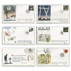 2018  WWI Stamps Hand Painted Set of 6 Covers