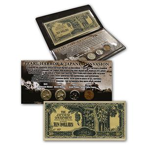 Pearl Harbor Coin Collection & Japanese Invasion Note