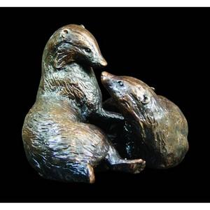 Pair of Badgers Bronze Figurines Ltd Edt 150