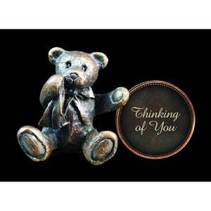 'Thinking of You' Bronze Penny Bear Figurine - Michael Simpson