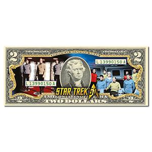 Star Trek Crew Colourised $2 Bill