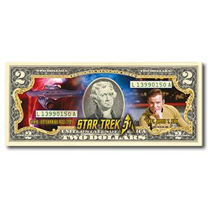 Star Trek Captain Kirk Colourised $2 Bill