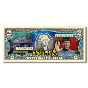 Star Trek Spock Colourised $2 Bill
