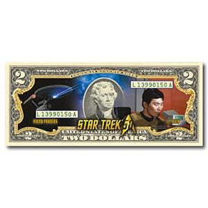 Star Trek Sulu Colourised $2 Bill