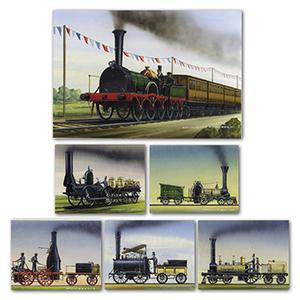 Six Locomotive Drawings by Gordon C Davies