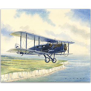 1st UK Int. Airmail Service artwork by Kenneth C Aitken