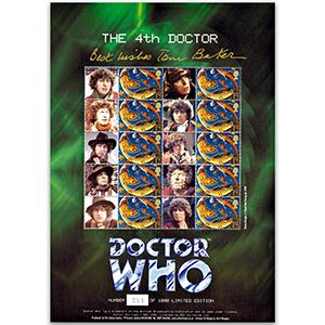 Doctor Who 'The 4th Doctor' Customised Stamp Sheet - Signed by Tom Baker