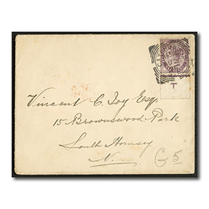 1881 1d Lilac, example with 'T' control marginal tab, used on tidy cover. SG170