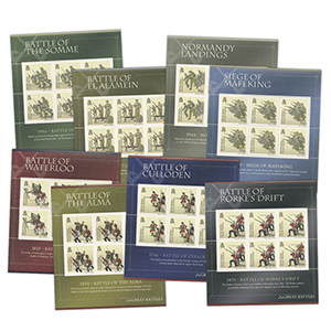 2010 BIOT - Set of 12 Great Battles Stamp Sheetlets