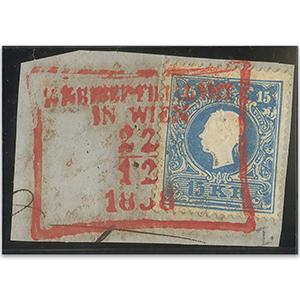 Austria 271 1858-59 15kr on piece, canc